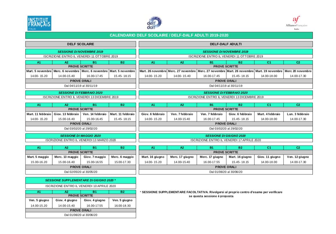 Calendario Esami Stato 2020.Calendario Esami 2019 2020 Alliance Francaise Cosenza