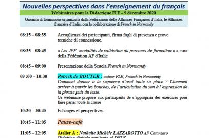 « JOURNÉE POUR LE FRANÇAIS » 2020/2021- FORMAZIONI di 20 ore per il personale docente sulla Didattica FLE